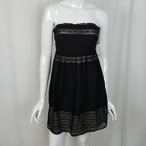 Pins And Needles Black Strapless Dress Lace Inset